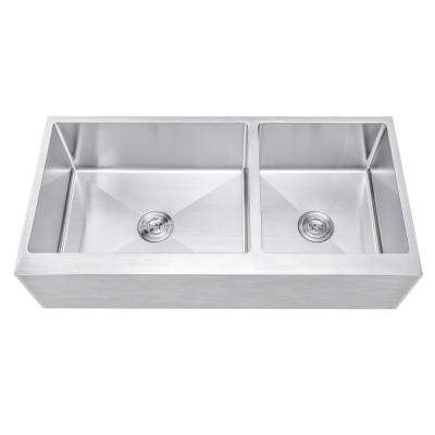 42 in. x 21 in. x 10 in. 16-Gauge Stainless Steel Farmhouse Apron 60/40 Offset Flat Front Double Bowl Kitchen Sink