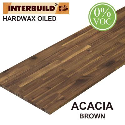 Acacia 8 ft. L x 40 in. D x 1 in. T Butcher Block Island Countertop in Brown Wood Oil Stain