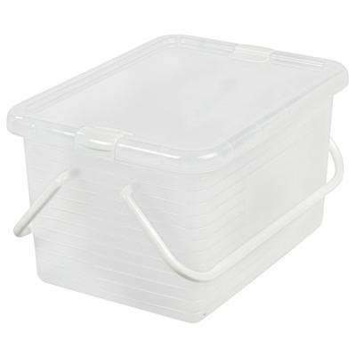 21 Qt. Medium Stacking Basket with Handles in Clear