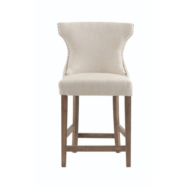 Scarlett 24 in. Natural Textured Cushioned Bar Stool