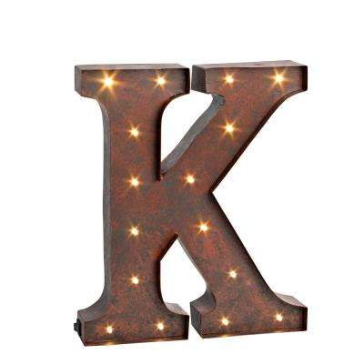 "12 in. H ""K"" Rustic Brown Metal LED Lighted Letter"