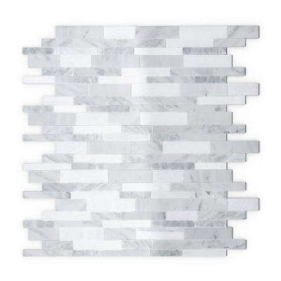 Gray Agate White and Gray 11.65 in. x 11.34 in. x 5 mm Stone Self-Adhesive Wall Mosaic Tile