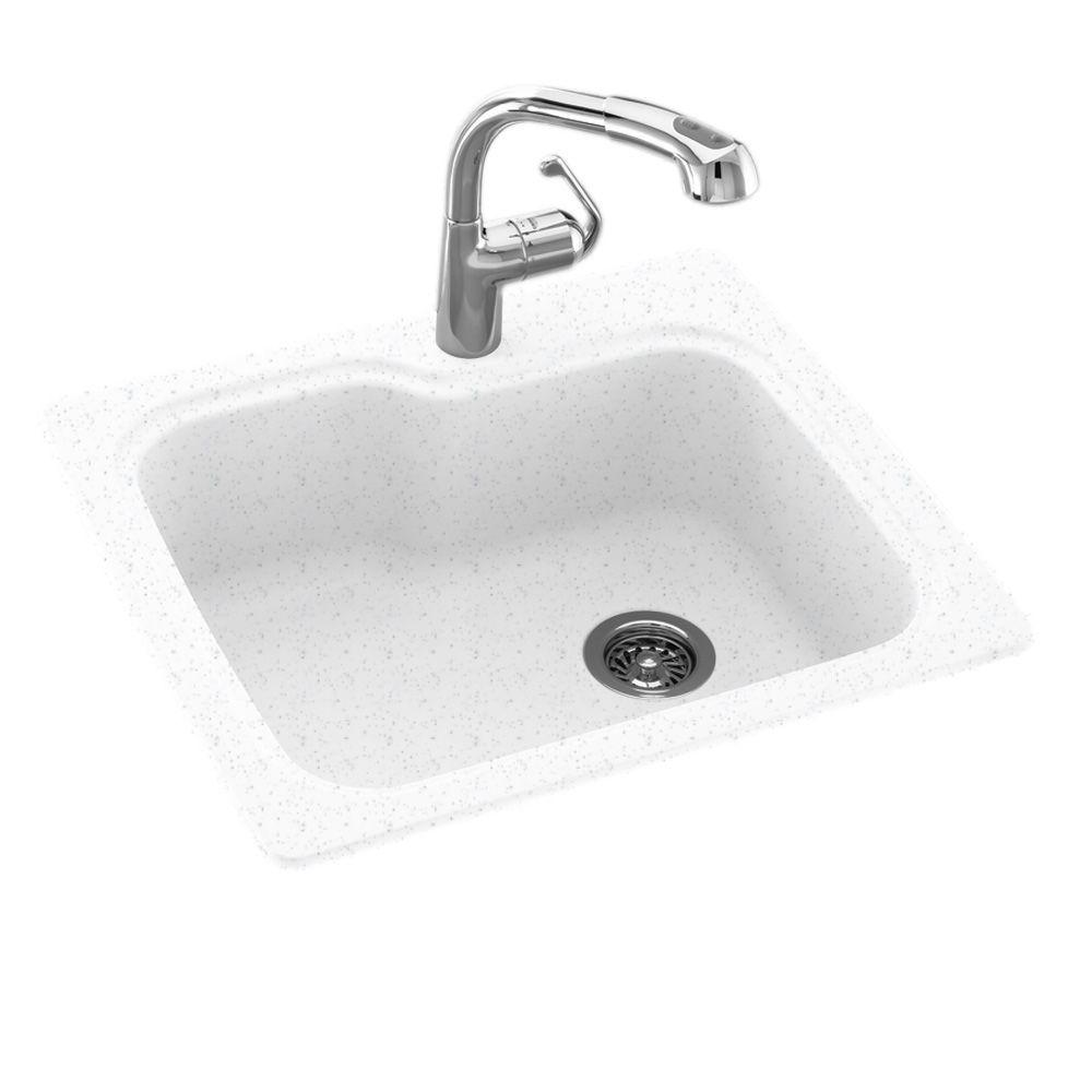 one hole kitchen sink swan dual mount composite 25 in 1 single bowl 3684