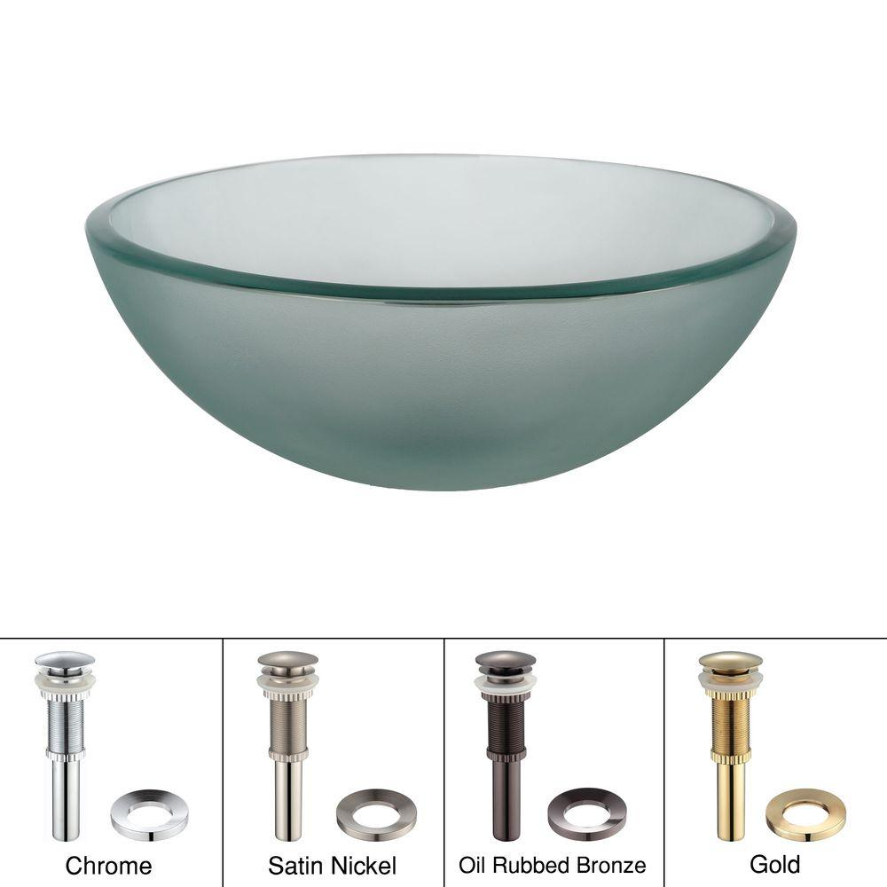 KRAUS 14 in. Glass Vessel Sink in Frosted with Pop-Up Drain and Mounting Ring in Satin Nickel