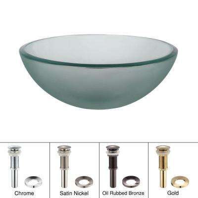 14 in. Glass Vessel Sink in Frosted with Pop-Up Drain and Mounting Ring in Satin Nickel