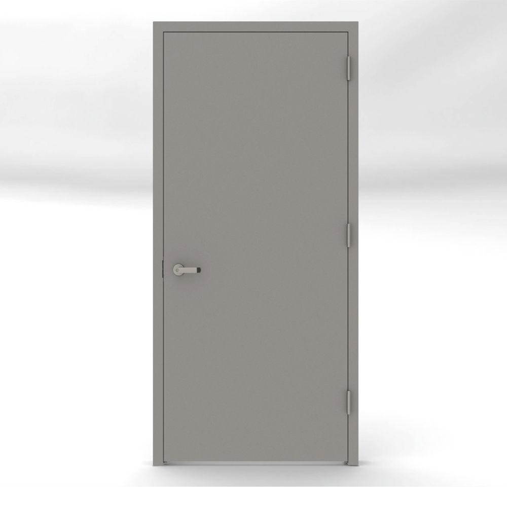 L i f industries 32 in x 80 in gray flush left hand fire for Entrance door frame