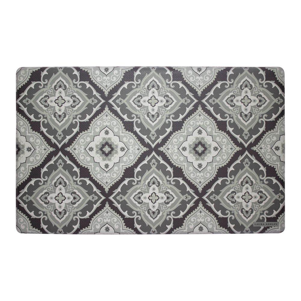 Laura Ashley Allie Gray 20 In X 32 Memory Foam Kitchen Mat
