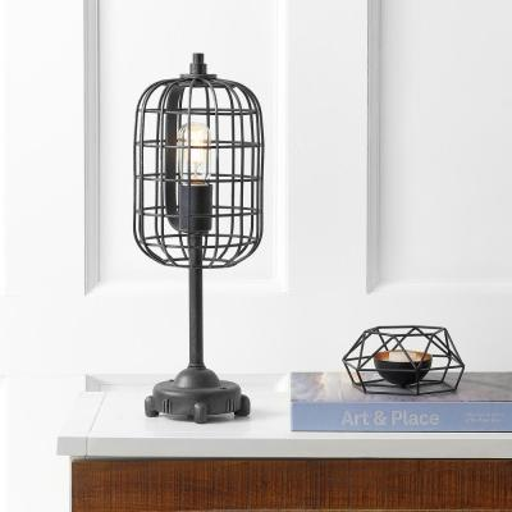Odette 20 in. Black/Silver Industrial Metal Table Lamp