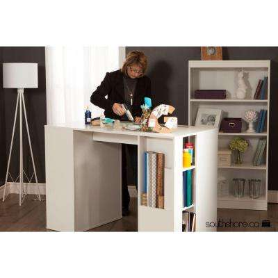 Crea Laminated Particleboard Counter-Height Craft Table with Storage in Pure White