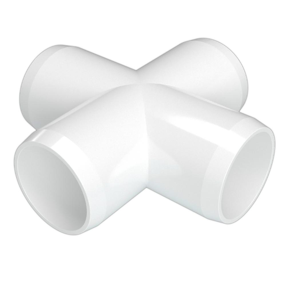 Formufit 1-1/2 in. Furniture Grade PVC Cross in White (4-Pack)