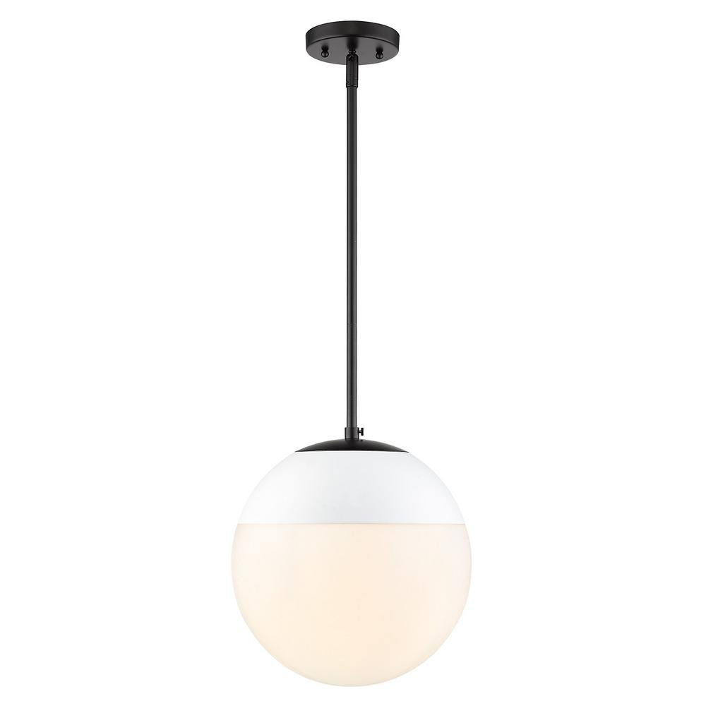 Dixon 1 Light Black With Opal Gl And White Cap Pendant
