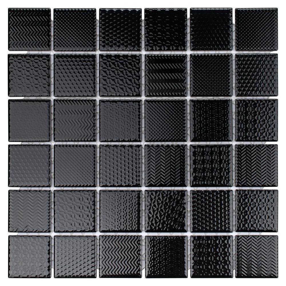 Celadon Graphite 11-5/8 in. x 11-5/8 in. x 6mm Porcelain Mosaic Tile
