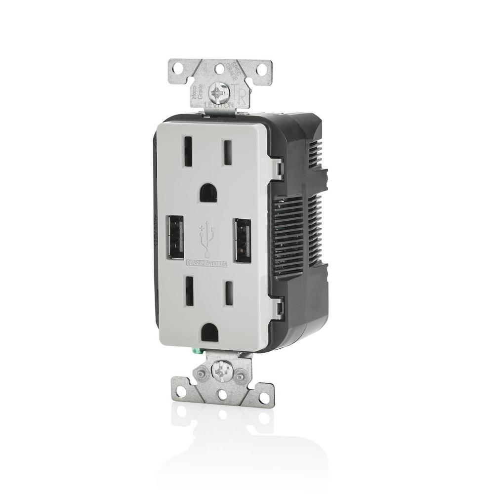 Decora 15 Amp Tamper Resistant Duplex Outlet and 3.6 Amp USB Outlet, Gray