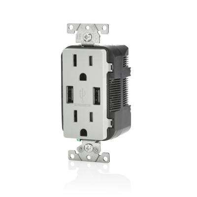 Decora 15 Amp Tamper Resistant Duplex Outlet and 3.6 Amp USB Outlet, Gray