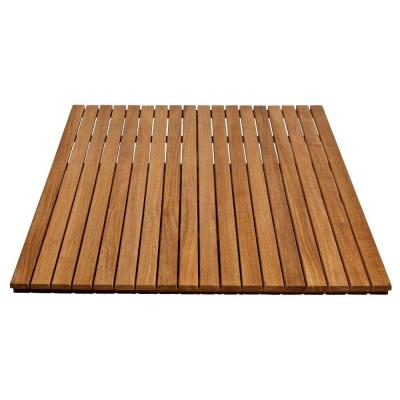 36 in. x 48 in. Bathroom Shower Mat in Natural Teak