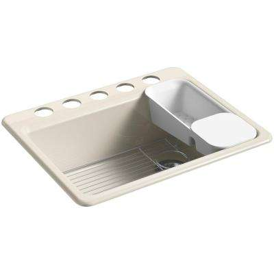 Riverby Undermount Cast Iron 27 in. 5-Hole Single Bowl Kitchen Sink Kit in Cane Sugar