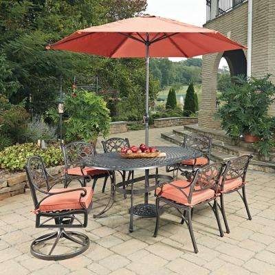 Biscayne Rust Bronze 9-Piece Cast Aluminum Outdoor Dining Set with Coral Cushions