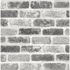 Gray Washed Brick Vinyl Peelable Wallpaper (Covers 30.75 sq. ft.)