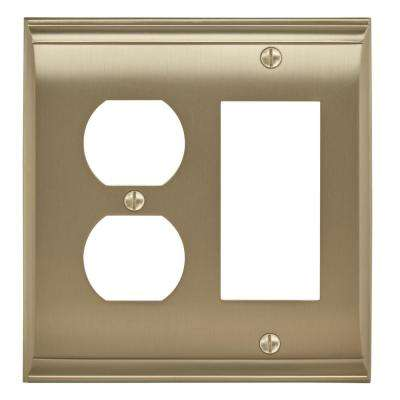 Candler 1 Rocker, 1 Receptacle Golden Champagne Wall Plate