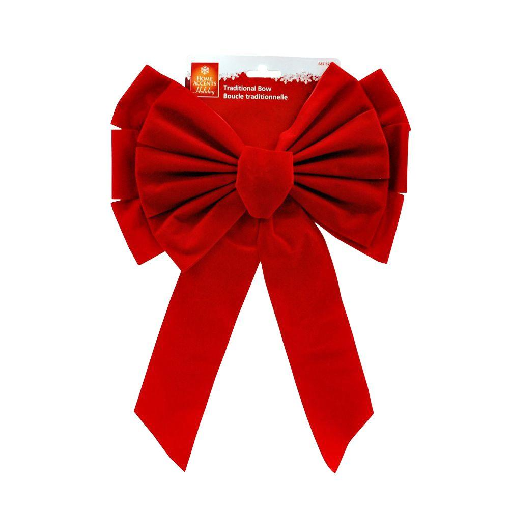 Home Accents Holiday 11 in. x 16 in. Red Flock Bow
