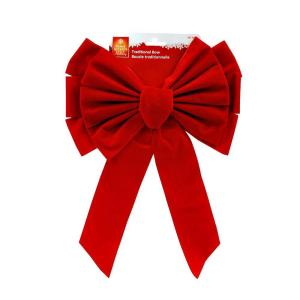 11 in. x 16 in. Red Flock Bow