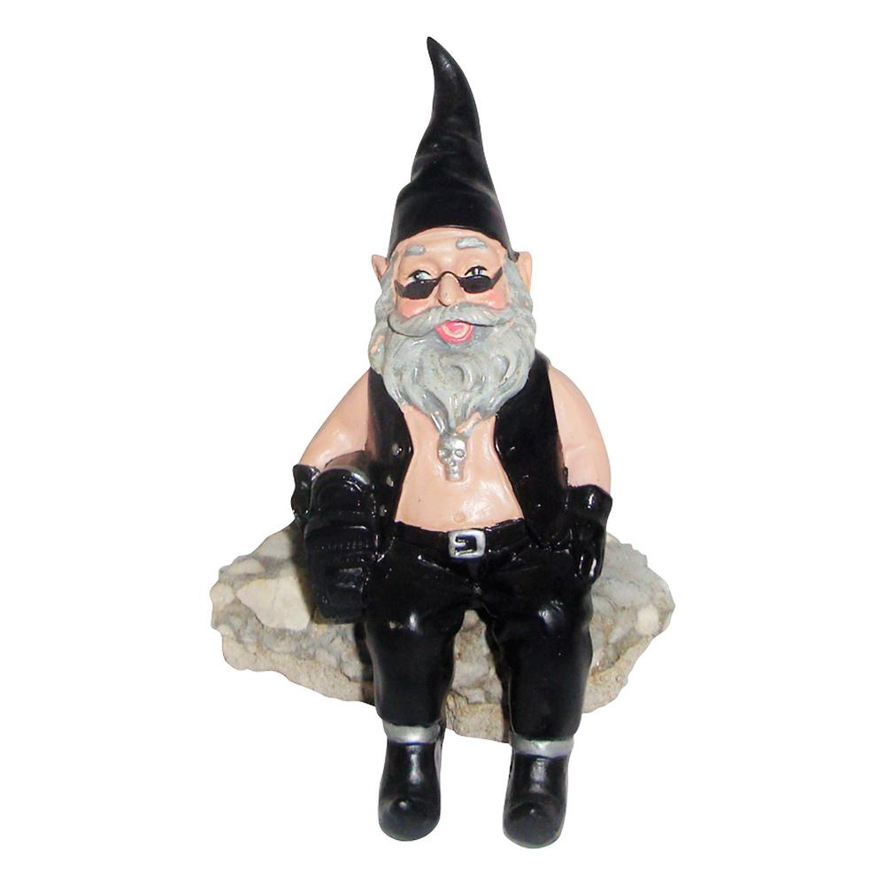 H Biker Dude The Biker Gnome Shelf Sitter In Leather Motorcycle Riding