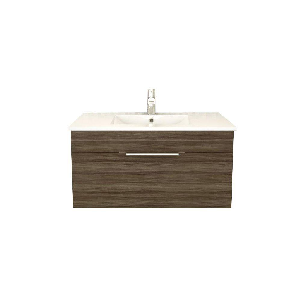 Cutler Kitchen and Bath Textures Collection 36 in. W x 18 in. D x 19 in. H Vanity in Driftwood with Acrylic Vanity Top in White with White Basin