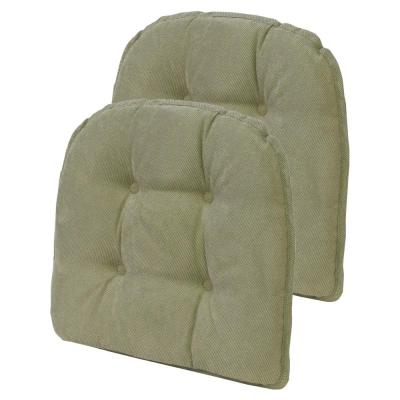 15 in. x 16 in. Gripper Non-Slip Twillo Thyme Tufted Chair Cushions (Set of 2)