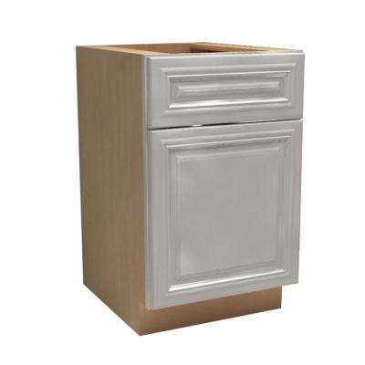 Coventry Assembled 15x34.5x24 in. Single Door, Drawer & Rollout Tray Hinge Right Base Kitchen Cabinet in Pacific White