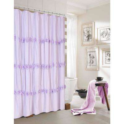 Rosette 72 in. Lilac Shower Curtain