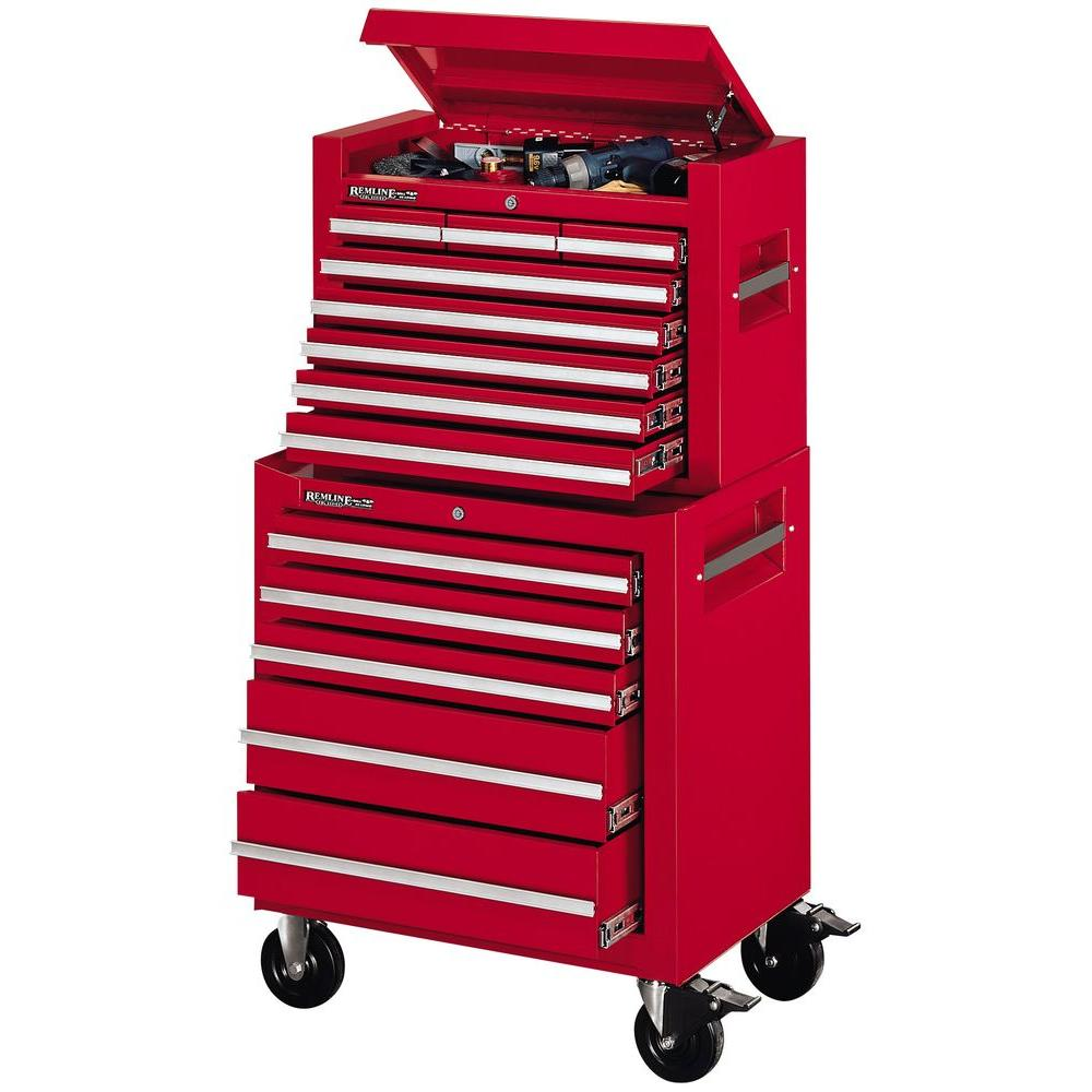 Remline 26 in. 13 Drawer Rally Red Chest/Cabinet Combo-DISCONTINUED