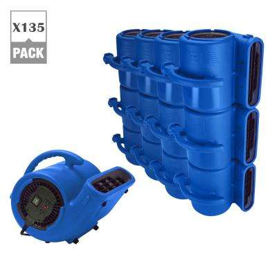 1/3 HP 2530 CFM Air Mover for Water Damage Restoration Carpet Dryer Janitorial Floor Blower Fan, Blue (135-Pack)