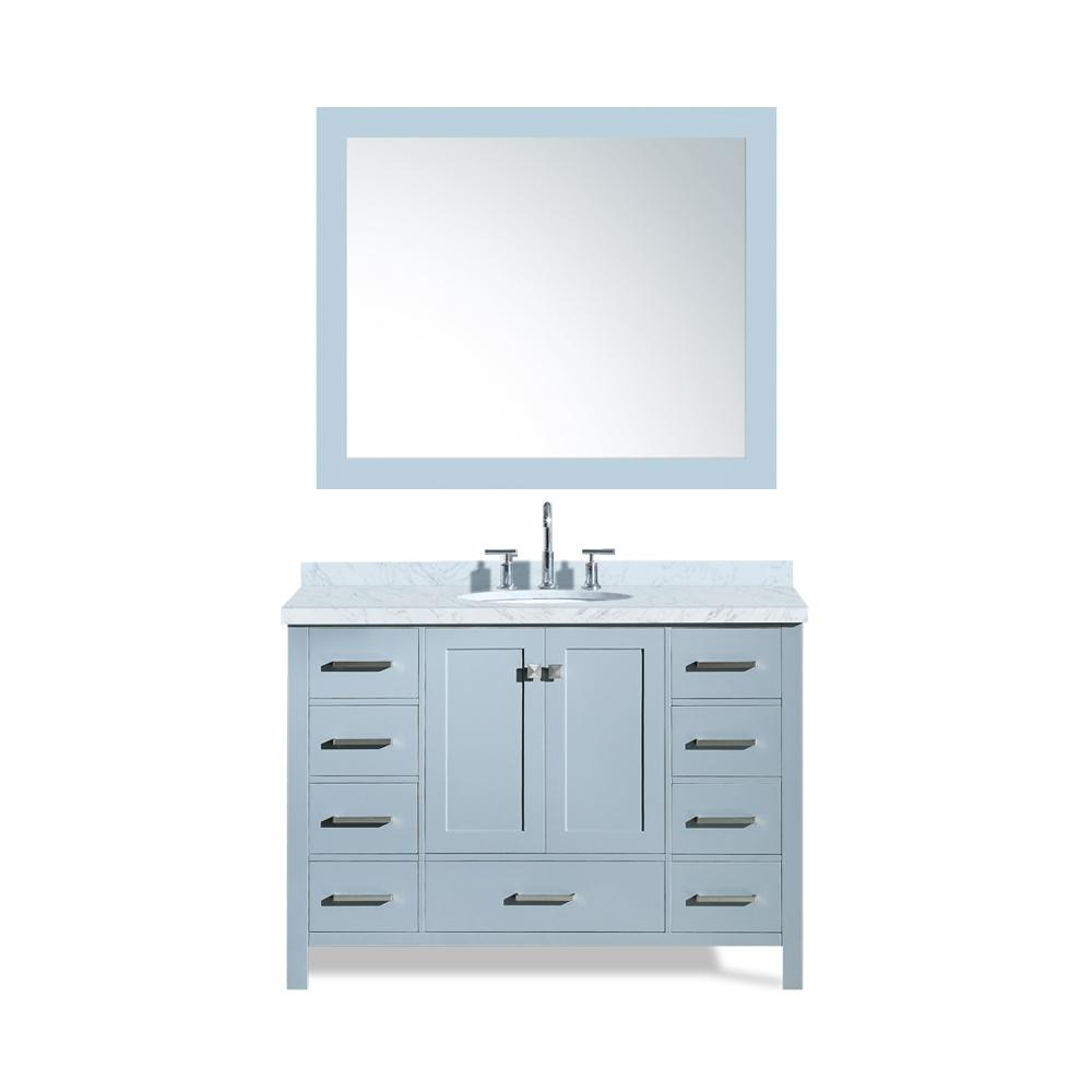 Ariel Cambridge 49 in. Bath Vanity in Grey with Marble Vanity Top in Carrara White with White Basin and Mirror
