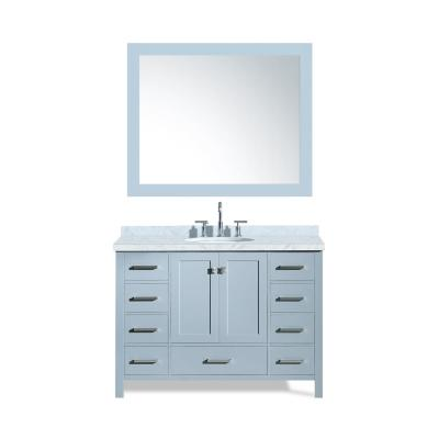 Cambridge 49 in. Bath Vanity in Grey with Marble Vanity Top in Carrara White with White Basin and Mirror