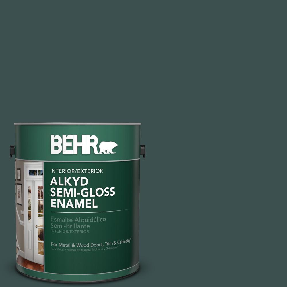 1 gal. #HDC-CL-21A Dark Everglade Semi-Gloss Enamel Alkyd Interior/Exterior Paint