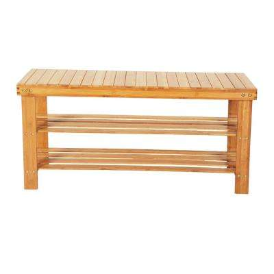10-pair 90cm Strip Pattern 3 Tiers Bamboo Stool Shoe Rack Wood Color Shoe Organizer