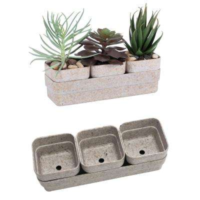 Eco 9 in. Sandstone Recycled Resin Rectangle Succulent Planter and Saucer Set