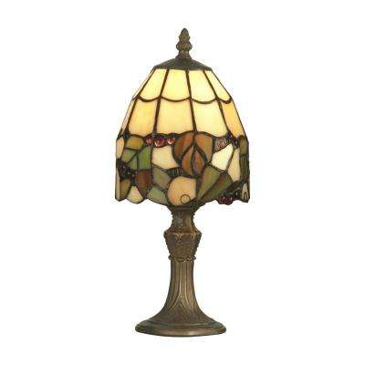 13 in. Antique Brass Grape Accent Lamp with Tiffany Art Glass Shade
