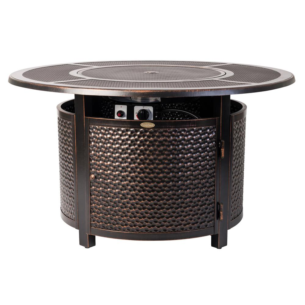 Fire Sense Walkers 44 in. x 24 in. Round Aluminum Propane Fire Pit Table in Antique Bronze