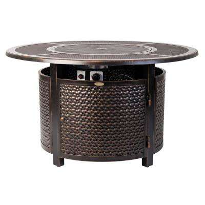 Walkers 44 in. x 24 in. Round Aluminum Propane Fire Pit Table in Antique Bronze