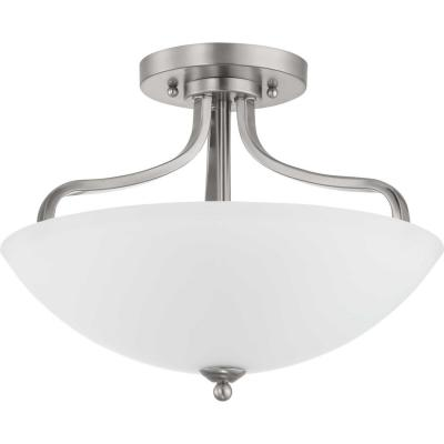 Laird Collection 3-Light Brushed Nickel Semi- Flush Mount