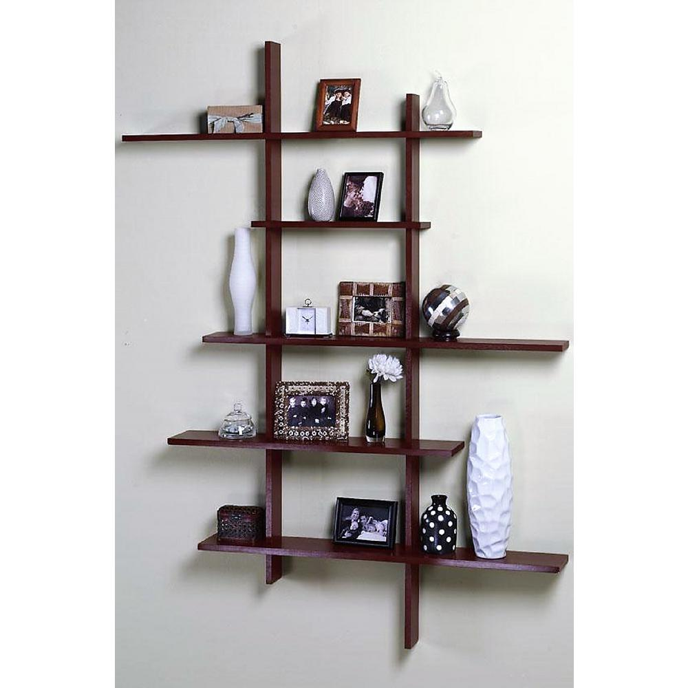 dark cherry deluxe 5shelf tall floating