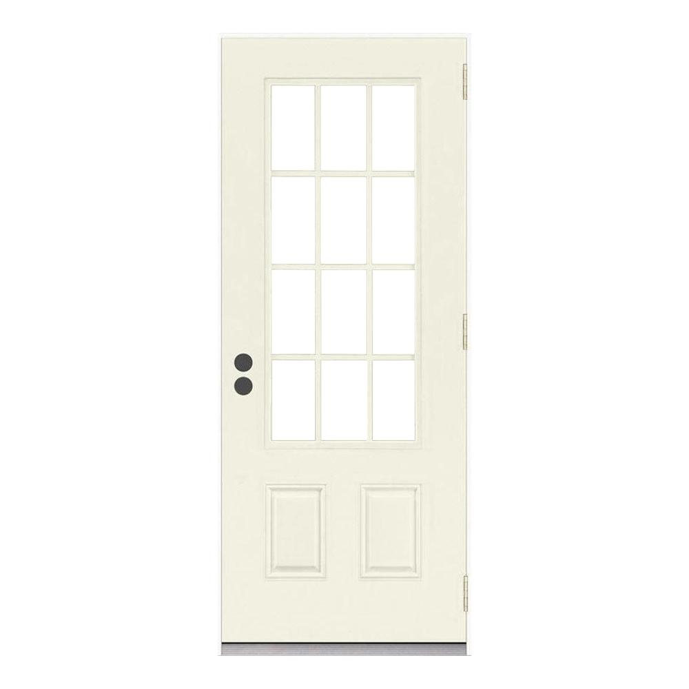 Jeld Wen Front Entry Doors: JELD-WEN 32 In. X 80 In. 12 Lite Primed Steel Prehung Left