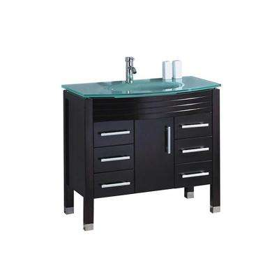 Fort 48 in. W x 22 in. D x 36 in. H Vanity in Espresso with Glass Vanity Top in Glass with Glass Basin