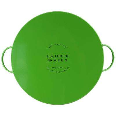 Daisie Collection1-Green with Flower Decorations Powder Coated Steel Tray