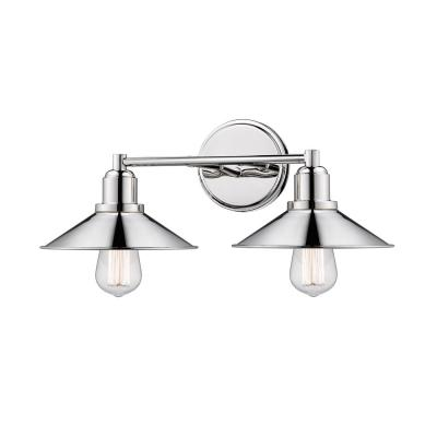 Cortez 2-Light Polished Nickel Bath Light with Polished Nickel Steel Shade