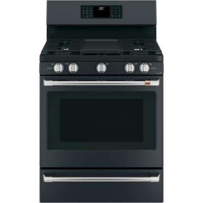 30 in. 5.6 cu. ft. Gas Range with Steam-Cleaning Convection Oven in Matte Black, Fingerprint Resistant