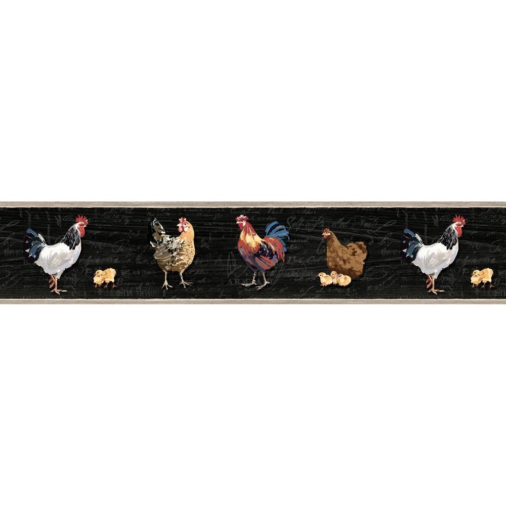 Chesapeake Bailey Rooster And Script Wallpaper Border