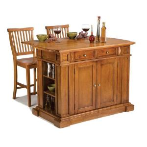 Americana Distressed Cottage Oak Kitchen Island with Seating