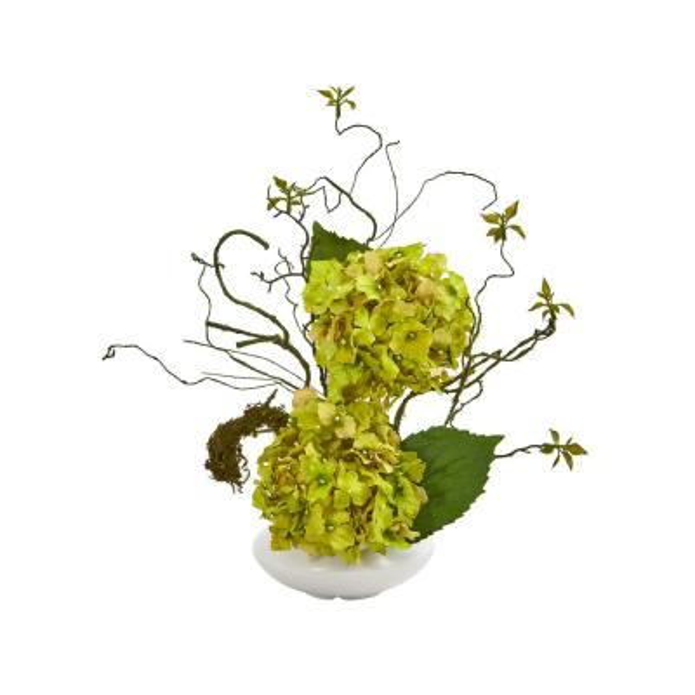 B Nearly Natural 1373-GR Hydrangea Silk Arrangement with Floral Planter